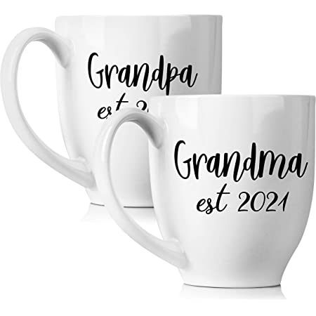 Amazon Com New Grandparents Pregnancy Announcement Coffee Mug Set 15oz Unique Expecting Gift Idea For Grandma And Grandpa To Be Perfect Reveal Present Baby Showers Grandmother And Grandfather Gifts Kitchen