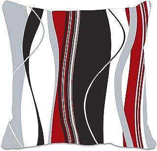Ondul¨¦s Rayures Verticales Rouge Noir Blanc et Gris Housse de Coussin pour Le Salon, canap¨¦, etc.