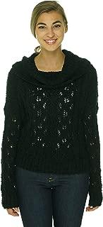 Sanctuary Women's Open Stitch Cowl Neck Sweater, BLack, Medium