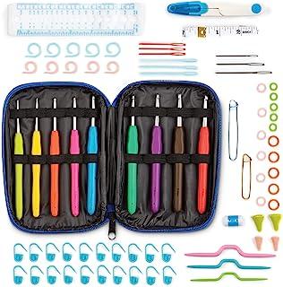 Ensemble de crochets WINTEX 78 pièces, crochets, poignées ergonomiques de différentes tailles, accessoires, kit avec sac p...