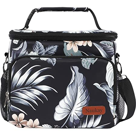 Wide Open Reusable Cooler Bag for Office Work School Picnic Beach-White Stripe ADOLPH Insulated Leakproof Lunch Bag with Adjustable Shoulder Strap for Women Men
