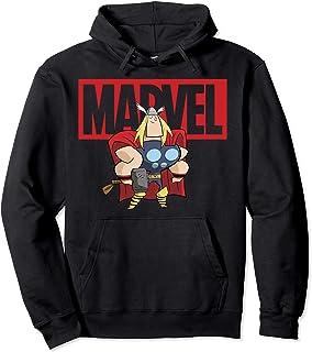 Marvel Thor Chibi Smiling Calm Stance Logo Outline Sweat à Capuche