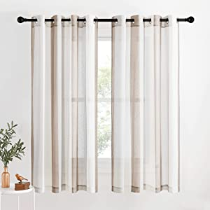 NICETOWN Stripe Linen Curtains Flax Texture 63 inch Length for Bedroom, Grommet Grey/Taupe/White Hit Colors Modern Window Treatment Privacy Sheer Drapes for Flat/Apartment, 2 PCs=100