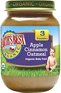 Earth's Best 3段,婴孩食品,苹果,肉桂粉和燕麦片,6盎司瓶(12瓶装)