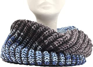 Scaldacollo in maglia, sciarpa ad anello unisex stampato col. Jeans fatto in Italia Made in Italy