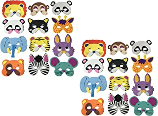 HoneyToys 24 Assorted Foam Animal Masks for Birthday Party Favors Dress-Up Costume
