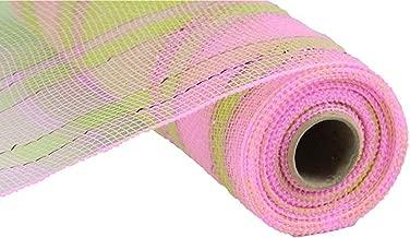 Plaid Metallic Deco Poly Mesh Ribbon - 10 inch x 30 feet (Apple Green, Pink)