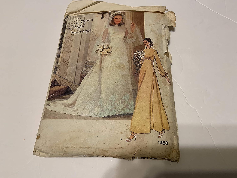 Vogue's Bridal Design Pattern Set Misses Bridal Dress Veil and Veil