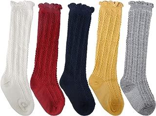 Jastore Unisex Baby Girl Boy Tube Ruffled Stocking Knit Knee High Cotton Socks