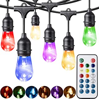 Fityou Outdoor String Lights, Waterproof Dimmable LED String Light 48FT 24 Hanging Sockets,Vintage Warm White & Color Changing Café String Lights with Smart Remote for Patio