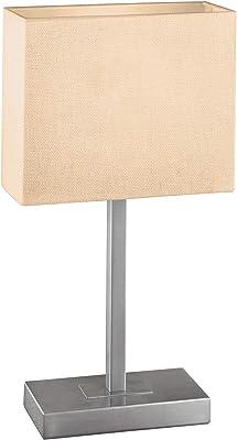 Eglo 87598 - Lampe de Table Modèle Pueblo 1 en Acier Nickelé Mat avec Abat-Jour en Tissu Blanc, Hv 1 X E14 Max 60W, Fonction Tactile, Ampoule Non Incluse, 26 X 10 X 48 cm, Culot 20 X 10 cm