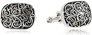 Men's Oval Cuff Links with Antique Pattern