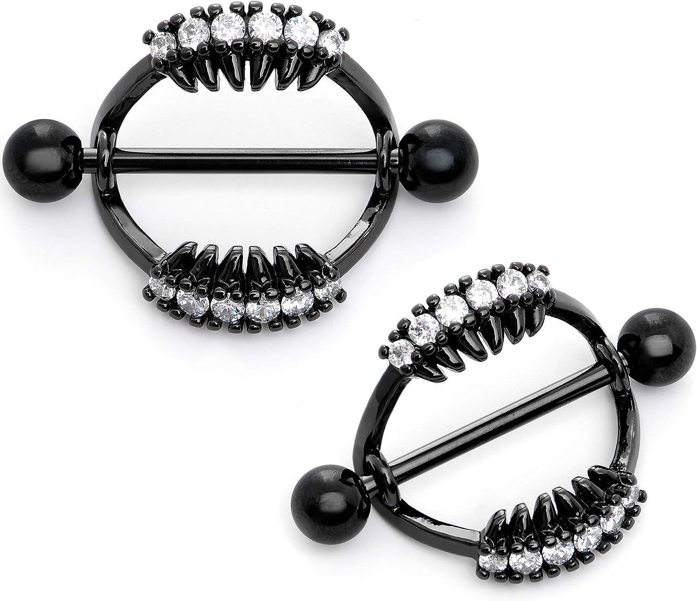 Body Candy 2Pc Womens 14G Nipplerings Piercing Black PVD Steel Scary Fang Nipple Shield Nipple Ring Set 14mm