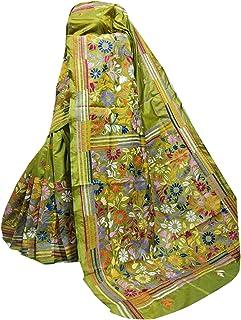 بلوزة ساري هندي أخضر لحفلة امرأة بنغالية ممزوجة من الحرير الساري كامل الجسم من kantha منسوج يدويًا 910a 2