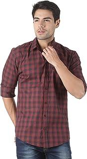 LEVIZO 100% Cotton Checkered Casual Regular Fit Full Sleeves Shirt for Men