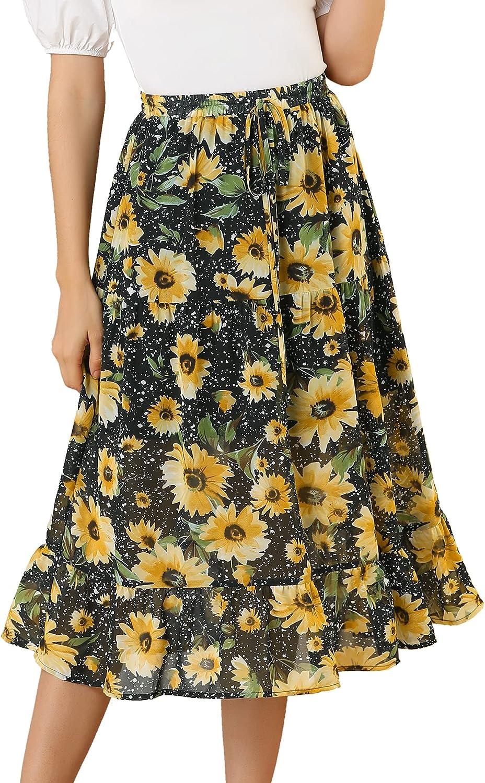 Allegra K Women's Floral A-line Tiered Chiffon Swing Sunflower Skirt