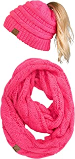 Funky Junque Womens Infinity Scarf and Messy Bun Beanie Tail Matching Winter Set