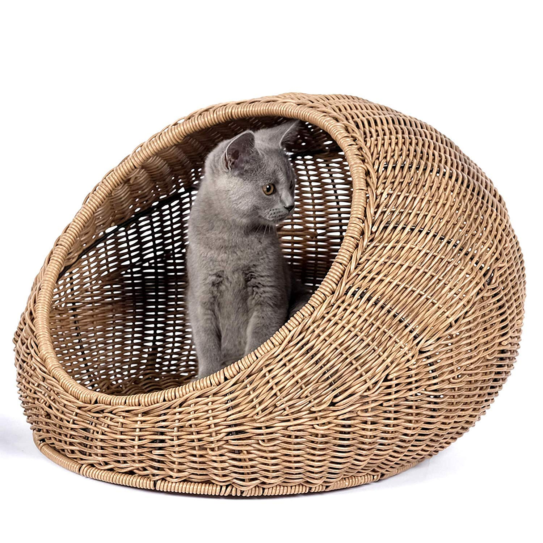 GCSEY Cúpula de Cama de Gato de Mimbre para Gatos de Interior medianos - un escondite Cubierto para Gatos Cabaña de Casas de ratán Mascotas en la Cesta de cúpula, Lavable: Amazon.es: