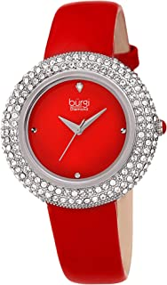 Burgi Women's Swarovski Crystal & Diamond - Accented Leather Strap Watch - Beautiful Gift Box Great for Mother's Day - BUR199