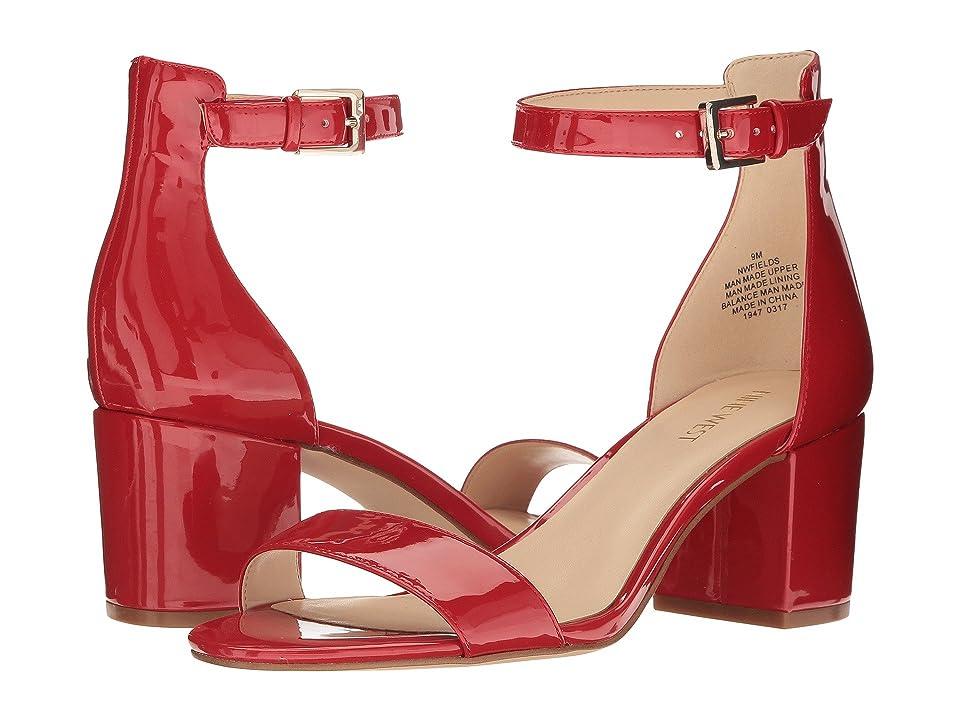 Nine West Fields Block Heel Sandal (Red Patent) Women
