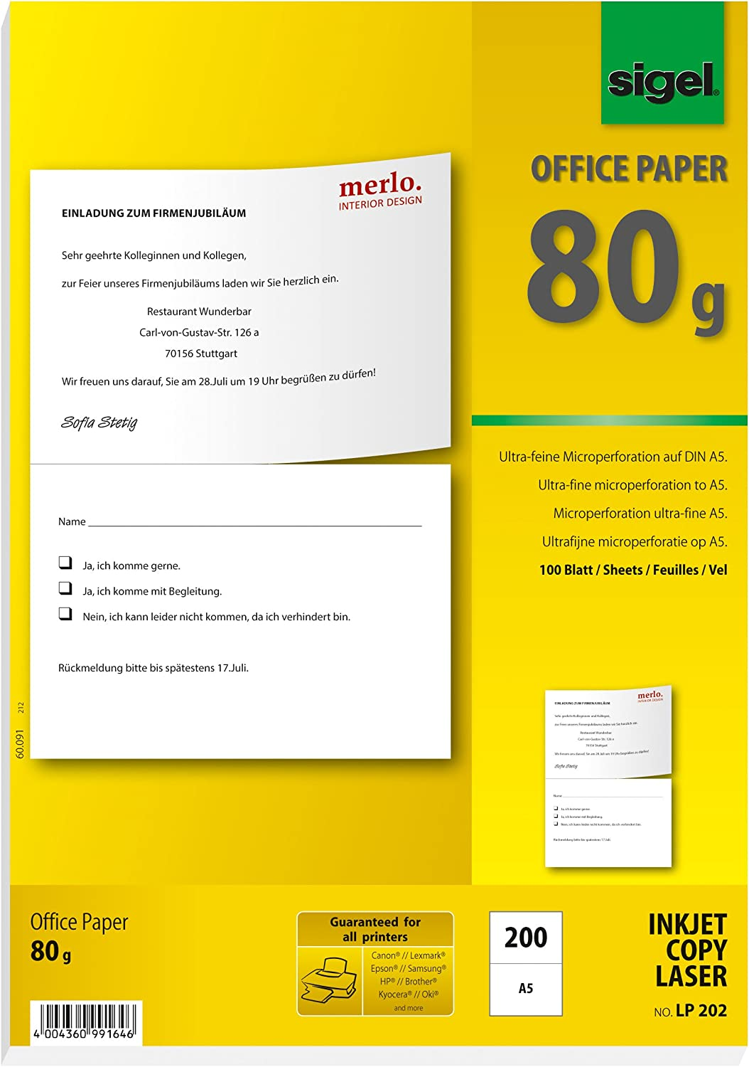 SIGEL Albuquerque Mall Max 44% OFF LP202 Special Microperforated Office Multipurpose Paper w