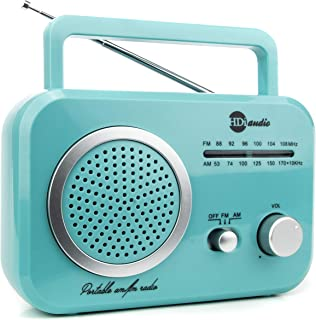 HDi Audio Radio Teal/Silver Premium Home Vintage Portable Retro Radio Classic AM/FM Radio with Built in Speakers + Headphone Jack