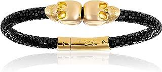 Double Bone Double Skull Genuine Stingray Leather Bracelet with Yellow Gold Skulls Unisex