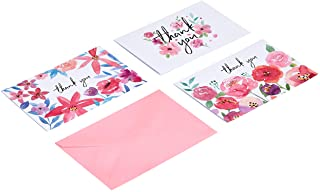 Amazon Basics Thank You Cards, Floral, 48 Cards and Envelopes