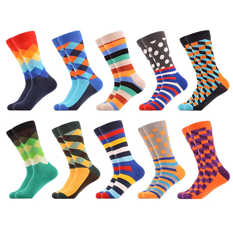 WeciBor Men's Dress Party Crazy Colorful Funny Cotton Crew Socks Packs
