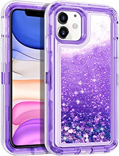Wollony for iPhone 11 Case Glitter, Heavy Duty Girly Liquid Bling Quicksand 3 in 1 Hybrid Impact Resistant Shockproof Hard Bumper Soft Clear Rubber Protective Cover for iPhone 11 6.1inch Purple
