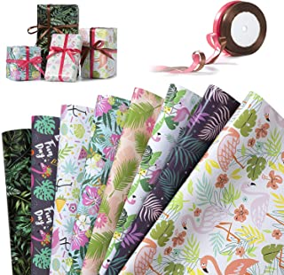 Papier Cadeau, Jolintek 8 Feuilles Emballage Cadeau, Tropicale Flamant Papier Cadeaux et 2 Rouleaux de Ruban Satin, Papier...