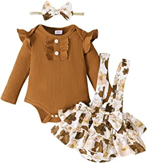 Newborn Infant Baby Girl Clothes Romper Set Floral Outfits Fall Cute Suspender Shorts Headband 3PCS Outfit Set