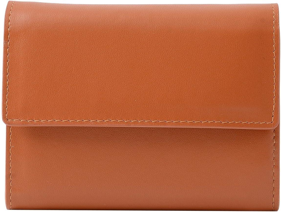 起きる人里離れた鷹本革 カウレザー コンパクト 三つ折り財布 キャメル ME0132_c3