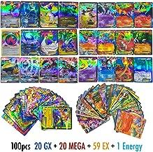 100 PCS Poke TCG Style Card Holo EX Full Art : 20 GX + 20 Mega + 1 Energy + 59 EX Arts