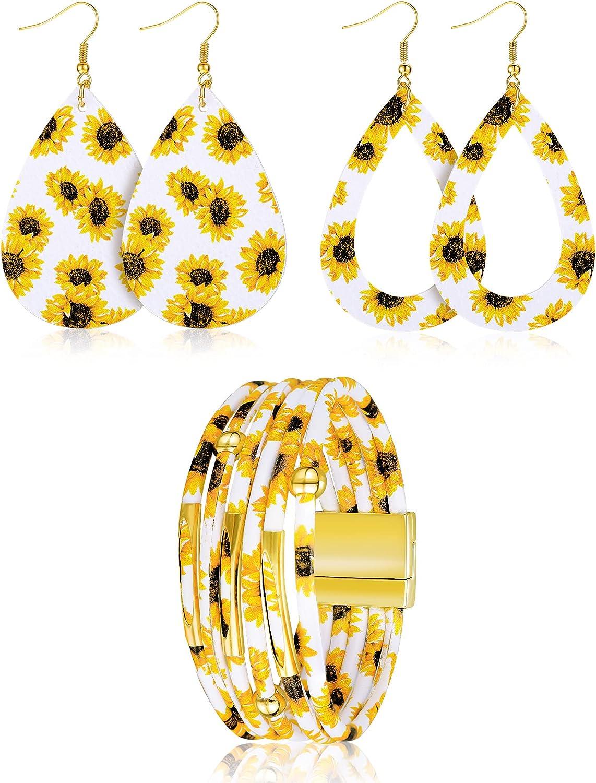 3 Pieces Women Sunflower Print Jewelry Set, Includes 2 Pairs Faux Leather Teardrop Dangle Earrings, Sunflower Multilayer Bracelet (White)