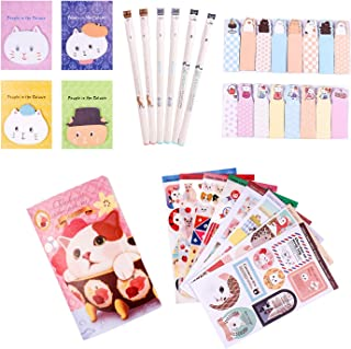 Kawaii School Supplies - Cat Stationery Set includes 6 Gel Pens, 120 Sticky Notes, 45 Pcs Stickers, 240 Bookmark Page Flags - Japanese Style Office Supplies/Journaling Kit - Gift for Girls