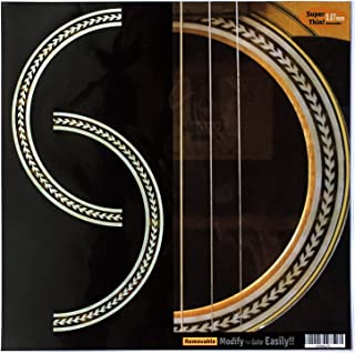 Inlay Sticker Decal Acoustic Guitar Purflinng Sound hole In Abalone Theme - Rosette (Herringbone)