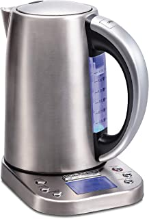 Hamilton Beach Professional Digital LCD Variable Temperature Control Electric Tea Kettle, Water Boiler & Heater, 1.7L, Cordless, Auto-Shutoff & Boil-Dry Protection, Silver (41028)
