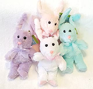 Greenbrier Adorable Plush Floppy-Ears Bunny Set of 4 - Blue, Pink, Purple, & White - Each Bunny 8 Inches with Additional 3 Inch Floppy Ears