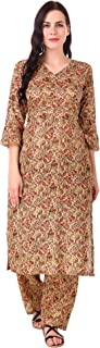 MEVE Readymade 2 Piece Matching Pure Cotton Beige Floral Kurta and Palazzo Set for Women