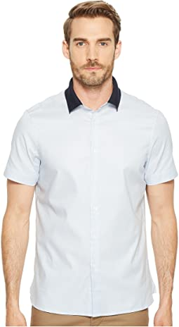 Short Sleeve Stretch Knit Collar Shirt
