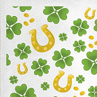Lunarable Shamrock Fabric by The Yard, Irish Lucks with Horse Shoe Coins and 4 Leaf Clovers Pattern, Decorative Fabric for Upholstery and Home Accents, 2 Yards, Green White
