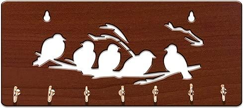 Sehaz Artworks DIY MDF Key Holder (Size: 25 cm x 11 cm x 0.3 cm, Color: Brown) (5-Birds-Brown)