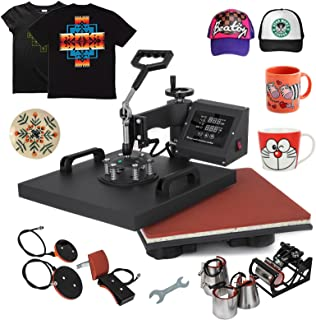 Mophorn Heat Press 15x15Inch 8pcs Heat Press Machine 1050W Multifunctional Sublimation Dual LED Display Heat Press Machine for t Shirts Swing Away Design (15X15Inch, 8IN1 Presser)