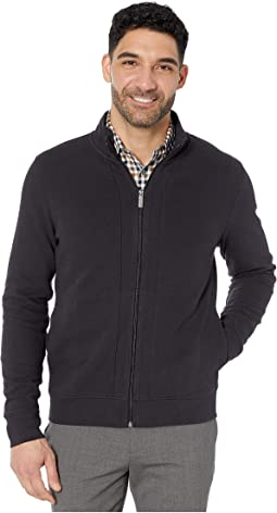 Ottoman Rib Knit Full Zip Long Sleeve Shirt
