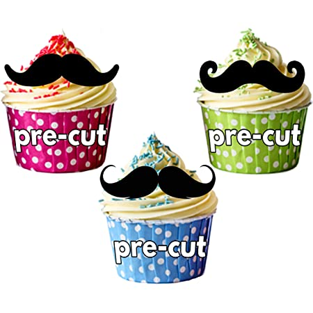 24 Moustache Muffin Fairy Cake Cupcake Toppers Edible Rice Paper