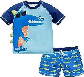 kavkas Baby Toddler Boy Swim Set Kid Swimsuit Boy Two Pieces Swimwear Rash Guard Sun Protection Swim Shirt
