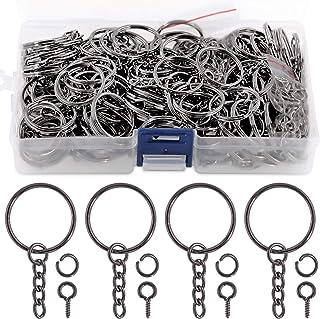 Swpeet 450Pcs Black Key Chain Rings Kit, 150Pcs Keychain Rings with Chain and 150Pcs Jump Ring with 150Pcs Screw Eye Pins ...
