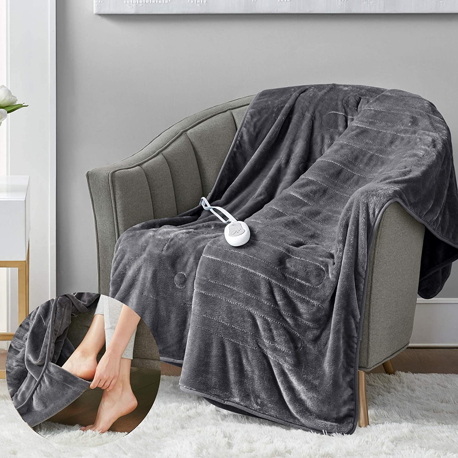 Microplush Electric Blanket with Foot Pocket Grey 50x62   Heated Lap Throw for Home or Office - Keeps Toes Toasty   3 Heat Settings with Auto Shut Off   6Ft Power Cord   Washable : Home & Kitchen