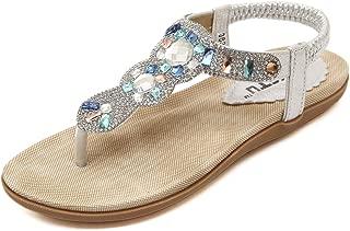Women's Wedding Sandals Crystal with Rhinestone Beaded Bohemian Dress Flip-Flop Gladiator Shoes Plus-Size